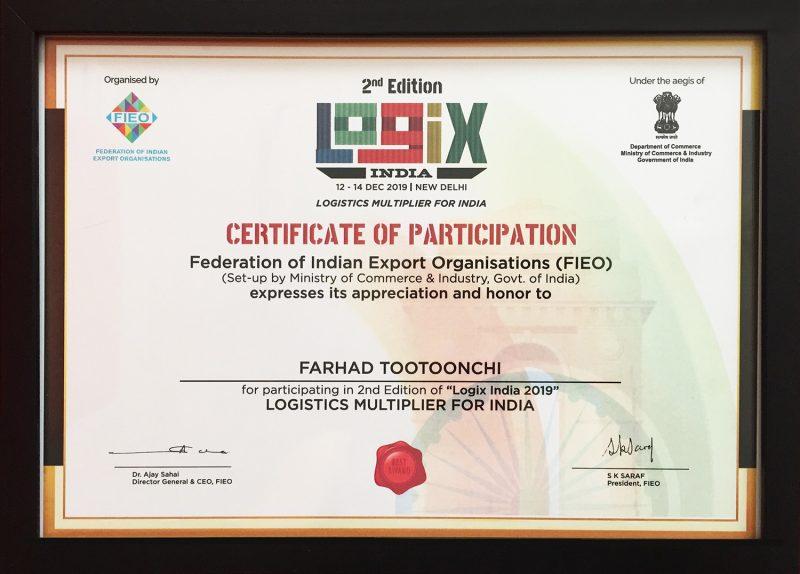 Logix India Second Edition Dec.2019 Farhad Tootoonchi's Certficate of Participation